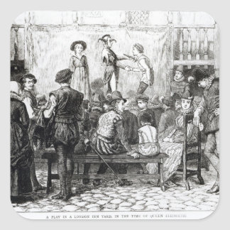 A Play in a London Inn Yard Square Sticker