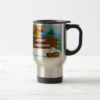 A playful bear playing near the christmas signboar travel mug