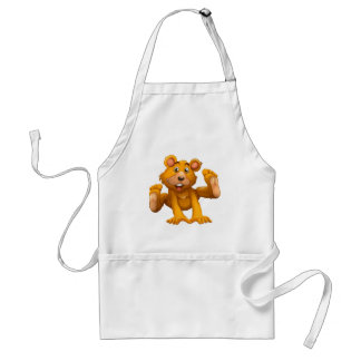 A playful brown bear adult apron