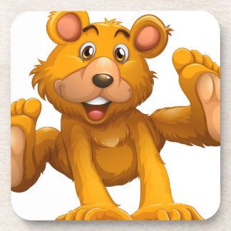 A playful brown bear beverage coasters