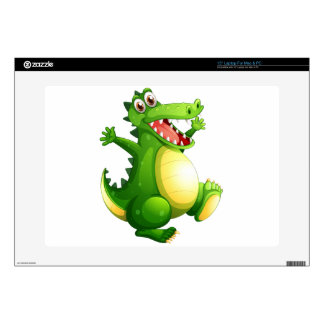 """A playful green crocodile decals for 15"""" laptops"""