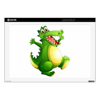 A playful green crocodile laptop decals