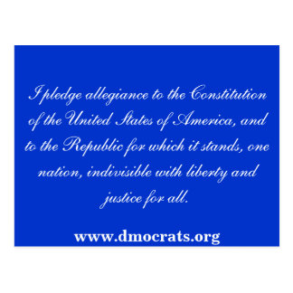 A pledge of Allegiance POST CARD