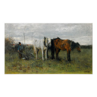 A Ploughing Farmer Poster