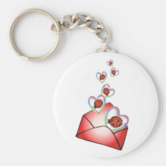 A POCKET FULL of HEARTY LOVE BUGS by SHARON SHARPE Keychain