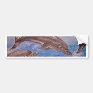 A Pod of Playful Jumping Dolphins Bumper Sticker