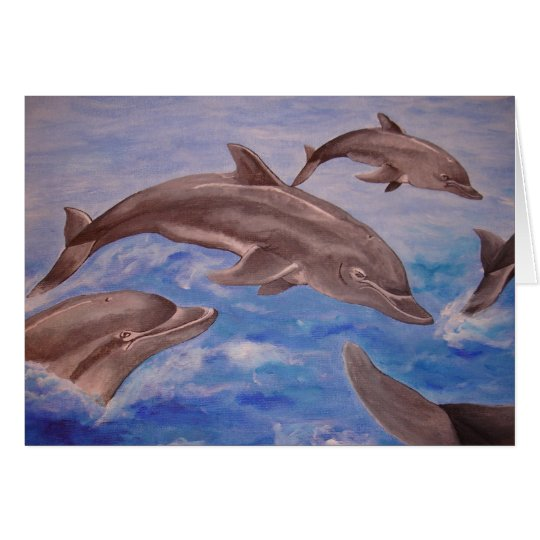 A Pod of Playful Jumping Dolphins Card