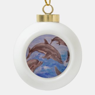 A Pod of Playful Jumping Dolphins Ceramic Ball Christmas Ornament