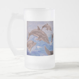 A Pod of Playful Jumping Dolphins Frosted Glass Beer Mug