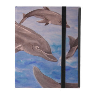 A Pod of Playful Jumping Dolphins iPad Folio Case