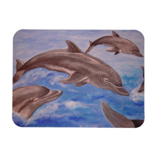 A Pod of Playful Jumping Dolphins Magnet