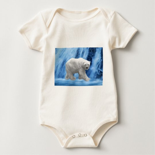 A polar Bear at the frozen waterfall Baby Bodysuit