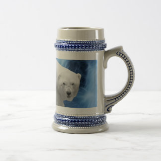 A polar Bear at the frozen waterfall Beer Stein