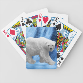 A polar Bear at the frozen waterfall Bicycle Playing Cards
