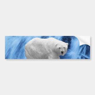A polar Bear at the frozen waterfall Bumper Sticker