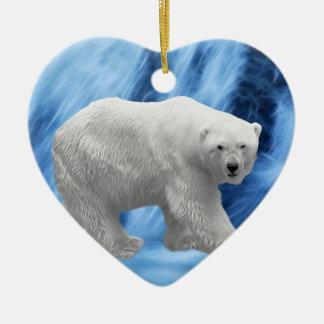 A polar Bear at the frozen waterfall Ceramic Ornament