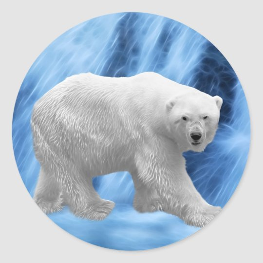 A polar Bear at the frozen waterfall Classic Round Sticker