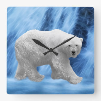A polar Bear at the frozen waterfall Wallclocks