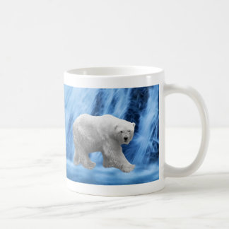 A polar Bear at the frozen waterfall Coffee Mug