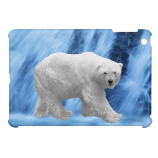 A polar Bear at the frozen waterfall iPad Mini Cover