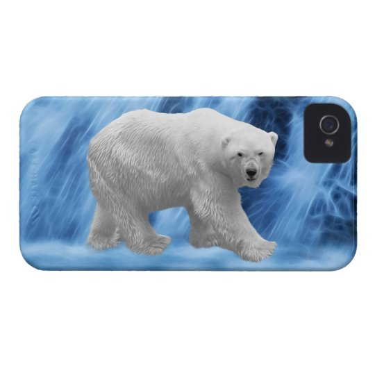 A polar Bear at the frozen waterfall iPhone 4 Cover