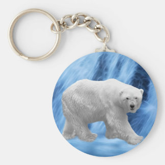 A polar Bear at the frozen waterfall Keychain