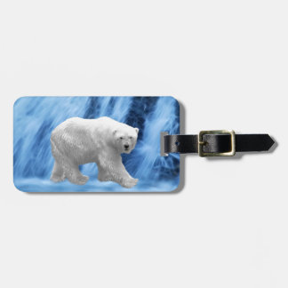 A polar Bear at the frozen waterfall Tag For Luggage