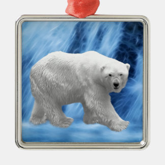 A polar Bear at the frozen waterfall Metal Ornament