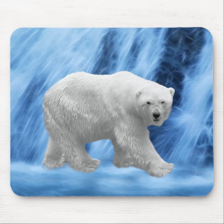 A polar Bear at the frozen waterfall Mouse Pad