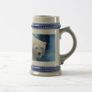 A polar Bear at the frozen waterfall 18 Oz Beer Stein