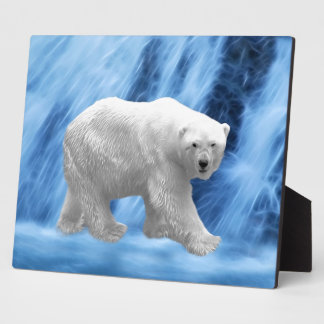 A polar Bear at the frozen waterfall Display Plaque