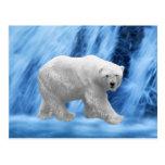 A polar Bear at the frozen waterfall Postcard