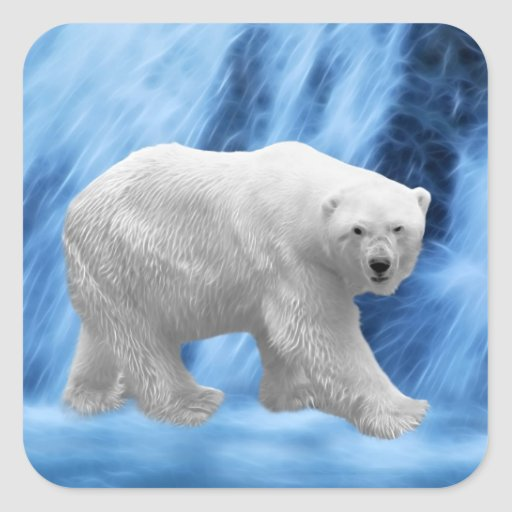 A polar Bear at the frozen waterfall Sticker