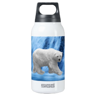 A polar Bear at the frozen waterfall Thermos Bottle