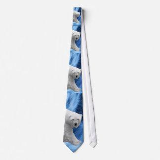 A polar Bear at the frozen waterfall Custom Ties