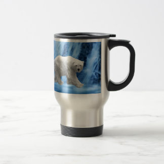 A polar Bear at the frozen waterfall Travel Mug