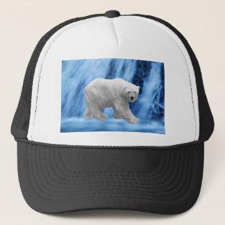 A polar Bear at the frozen waterfall Trucker Hat