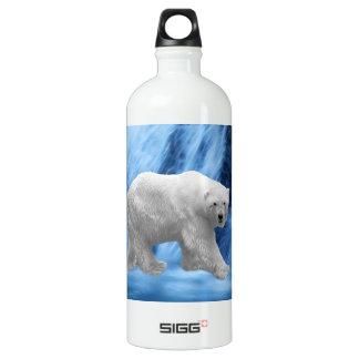 A polar Bear at the frozen waterfall Water Bottle