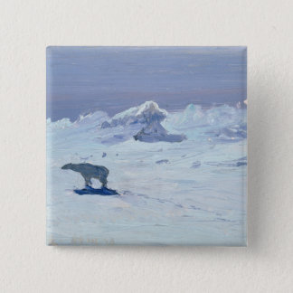 A Polar Bear Hunting in Moonlit Night, 1899 Button