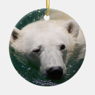 A polar bear just chilling christmas tree ceramic ornament