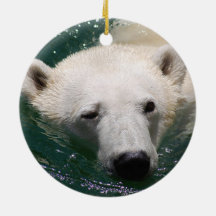 A polar bear just chilling Double-Sided ceramic round christmas ornament