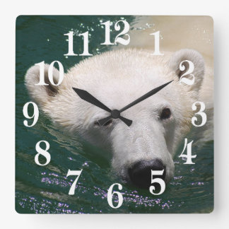 A polar bear just chilling square wall clock