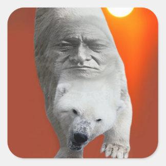 A polar bears sacredness and plight square sticker