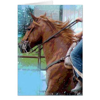 A Pole Bending Horse Card