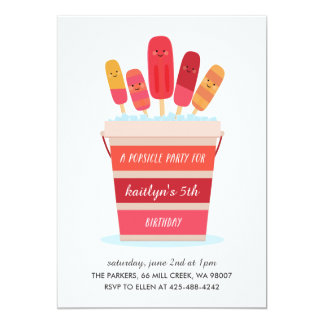 A Popsicle Party Kid's birthday party Invitation