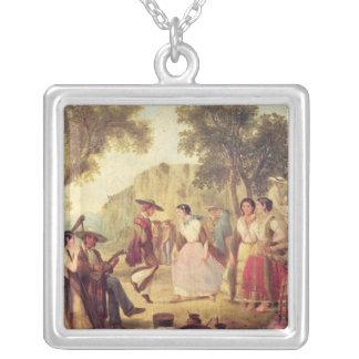 A Popular Dance Square Pendant Necklace