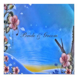 "A Popular Elegant Blue Wedding Invitation Blue 5.25"" Square Invitation Card"