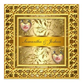"A Popular Elegant Wedding Invitation Gold 5.25"" Square Invitation Card"