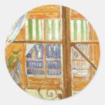 A Pork Butcher's Shop Window by Vincent van Gogh Round Stickers