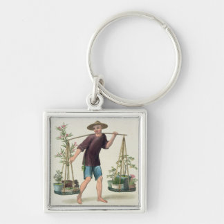 A Porter with Fruit Trees and Flowers, plate 16 fr Silver-Colored Square Keychain